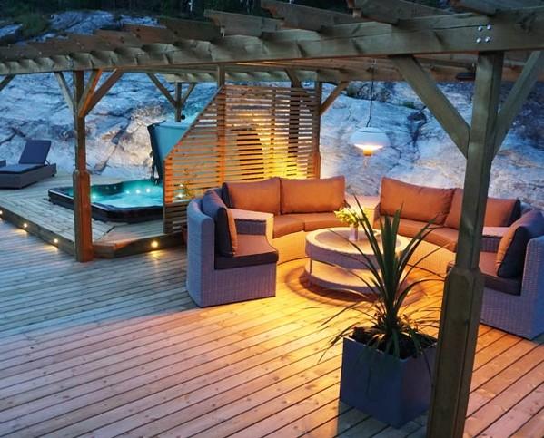 bain remous exterieur rigide terrasse massage montage